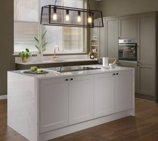 Shaker Chelsea Ermine Olive Matt (White) kitchen