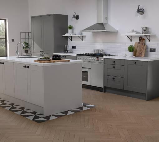 Shaker Ermine Charcoal Matt (White) kitchen