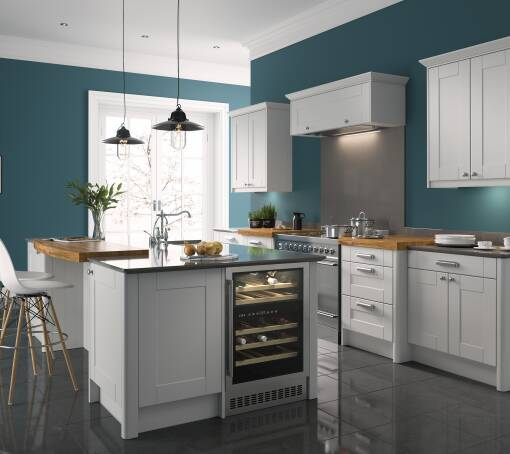 Grey kitchens grey kitchen units doors wren kitchens for Long kitchen wall units