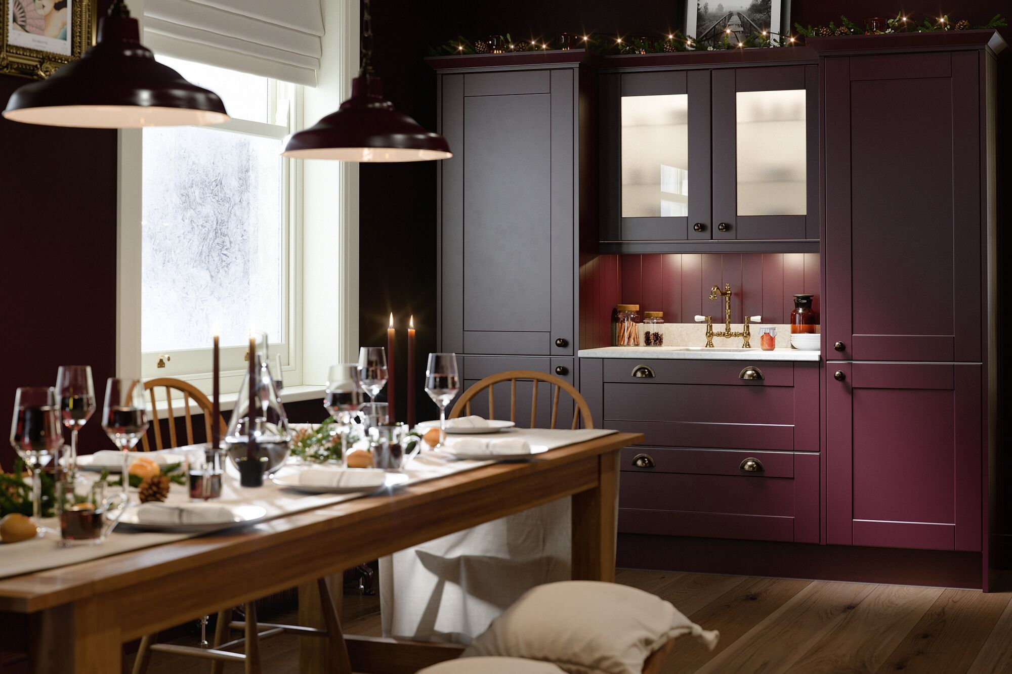 Shaker Kitchen in Aubergine and Gullwing