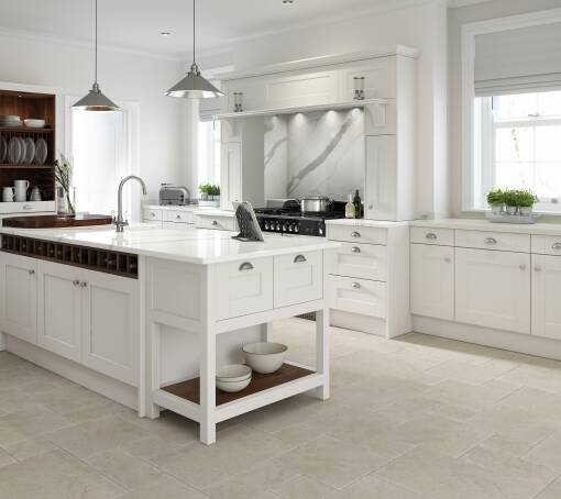 Shaker Parchment Matt (White) kitchen