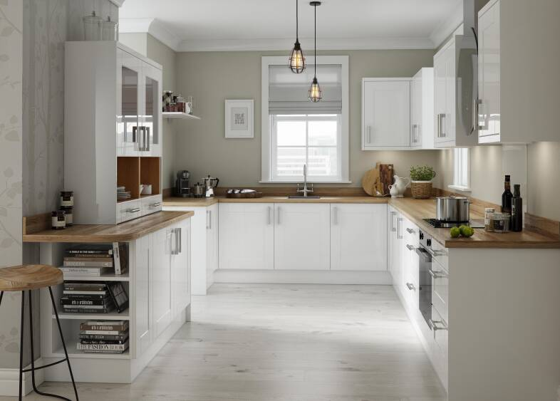 Country Kitchen  With White Shaker Cabinets