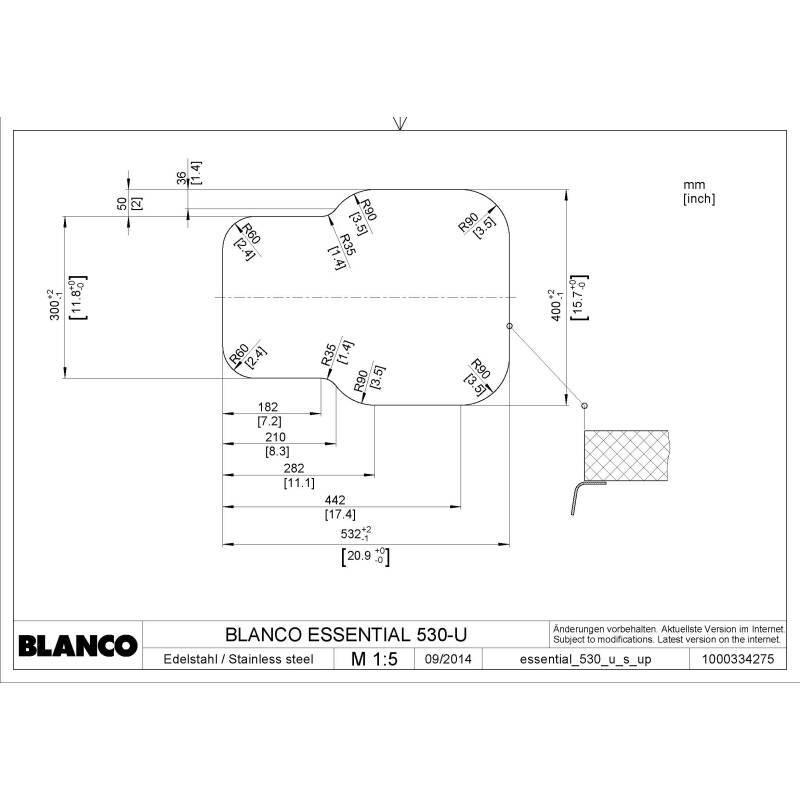 430x582 Ecuador 1.5 Bowl RVS U/mount Stainless Steel additional image 1