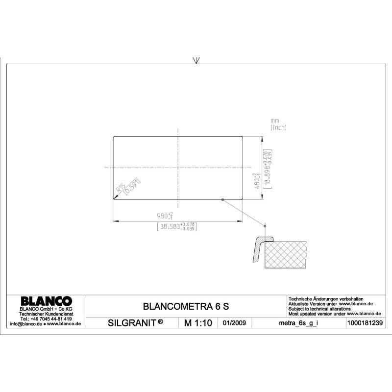 500x1000 Crete Composite 1.5 Bowl RVS Black additional image 1