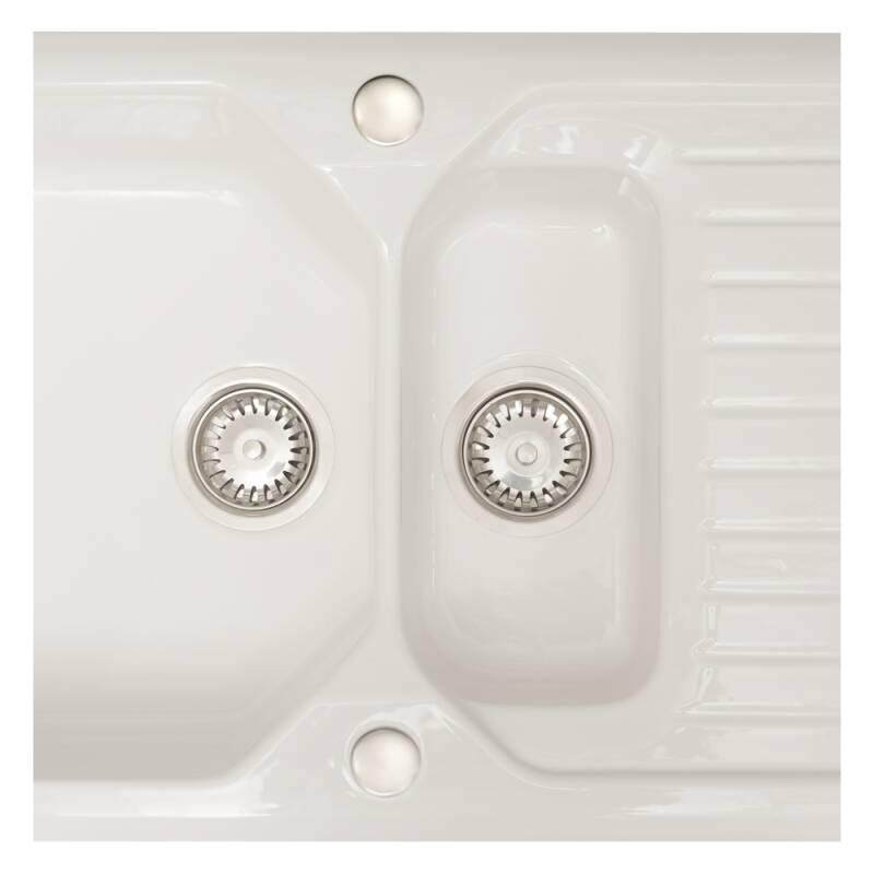 505x920 Swale Ceramic 1.5 Bowl RVS White additional image 1