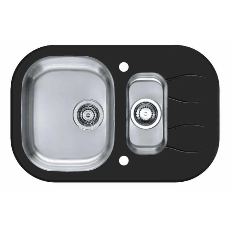 760x500 Rydal 1.5 Bowl RVS Round Black Glass primary image