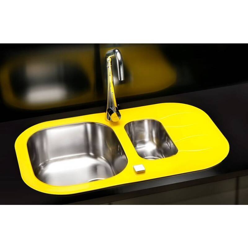 760x500 Rydal 1.5 Bowl RVS Round Yellow Glass additional image 2