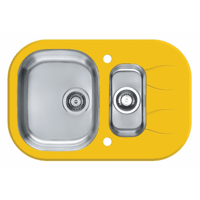 760x500 Rydal 1.5 Bowl RVS Round Yellow Glass