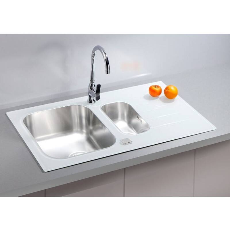 860x500 Alveus 1.5 Bowl RVS White Glass | Wren Kitchens