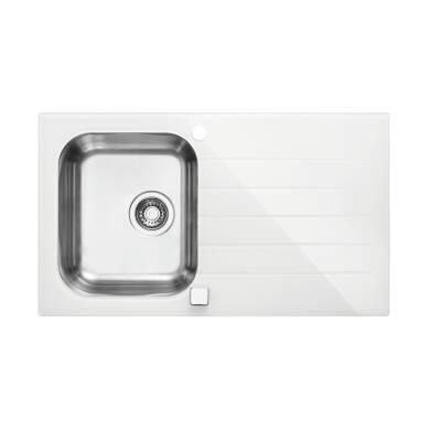 860x500 Alveus 1 Bowl RVS White Glass | Wren Kitchens