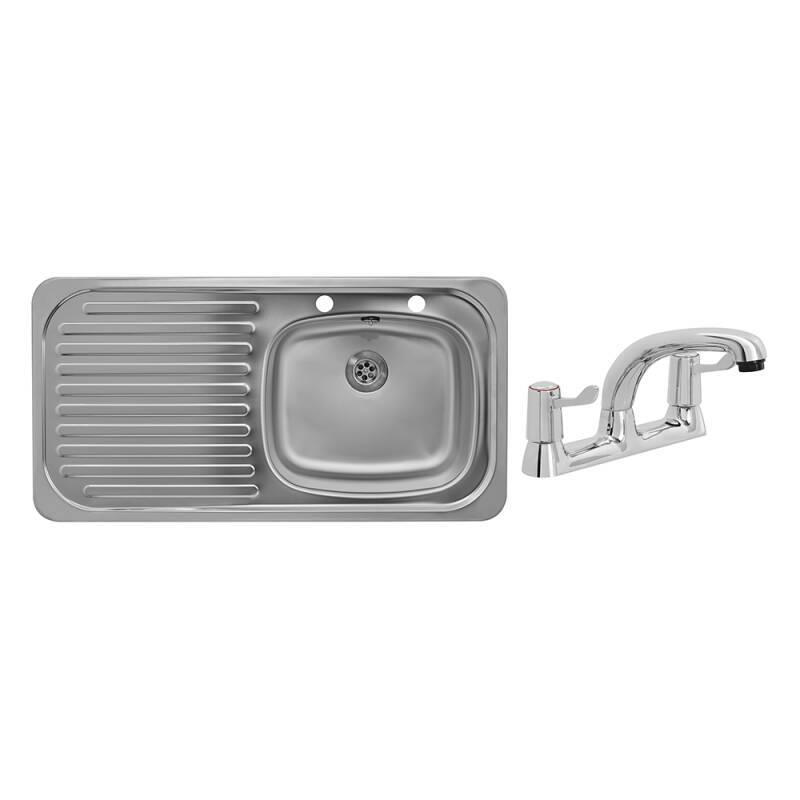 935x485 Tudor LHD S/Steel Sink and Deck Tap Pack primary image