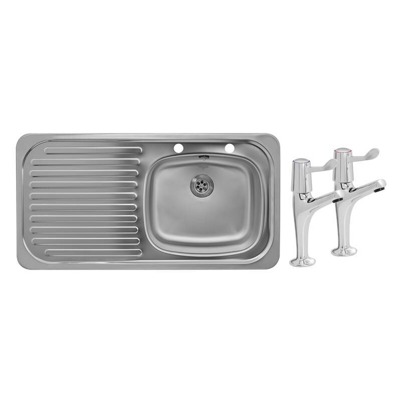 935x485 Tudor LHD S/Steel Sink and Lever Pillar Tap Pack primary image