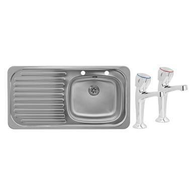 935x485 Tudor LHD S/Steel Sink and Pillar Tap Pack