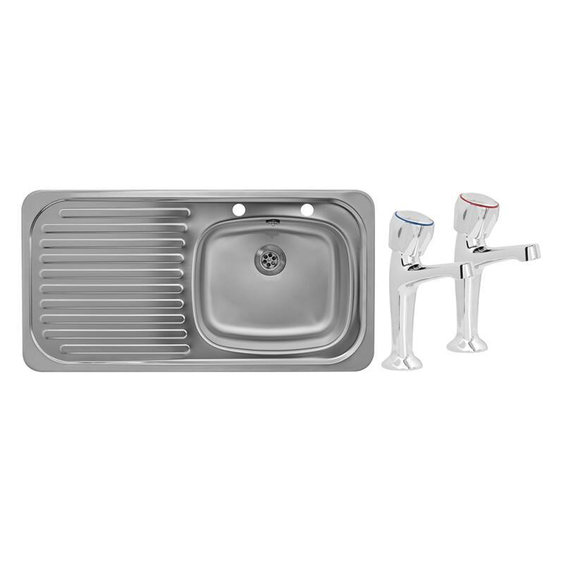 935x485 Tudor LHD S/Steel Sink and Pillar Tap Pack primary image