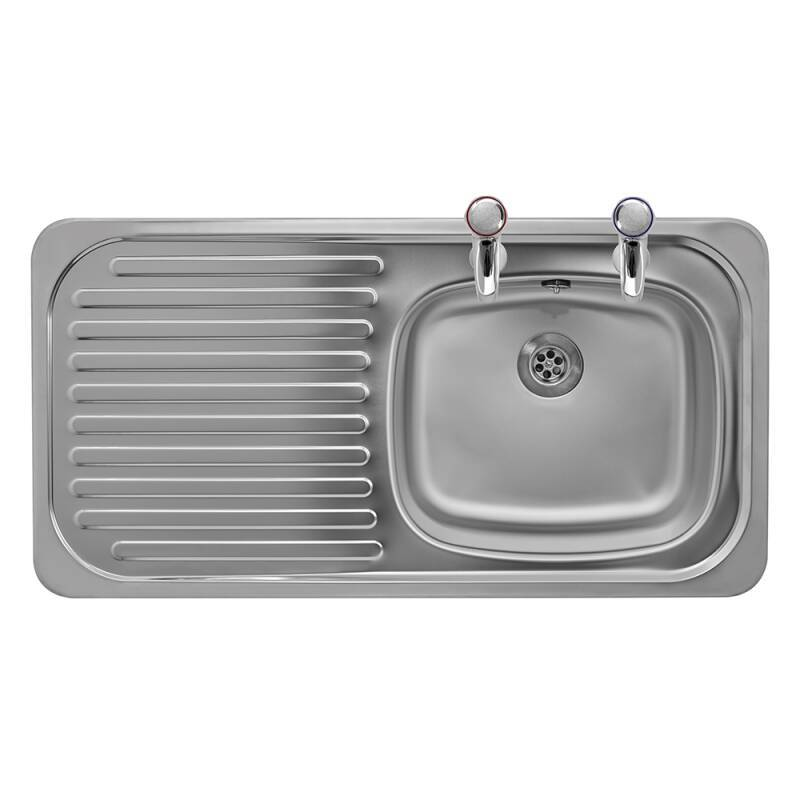 935x485 Tudor LHD S/Steel Sink and Pillar Tap Pack additional image 2