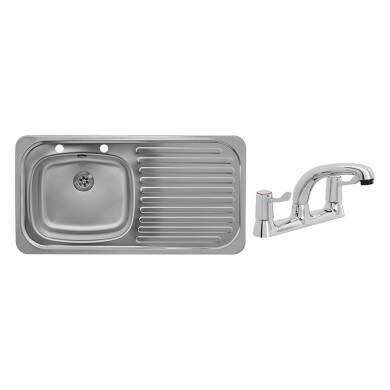 935x485 Tudor RHD S/Steel Sink and Deck Tap Pack