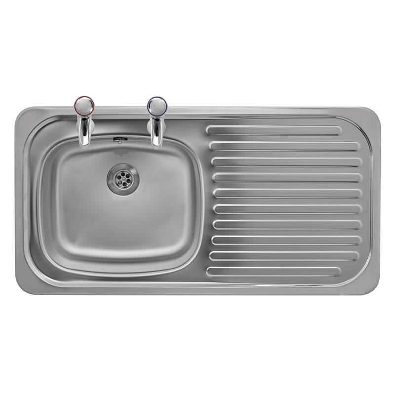 935x485 Tudor RHD S/Steel Sink and Pillar Tap Pack additional image 2