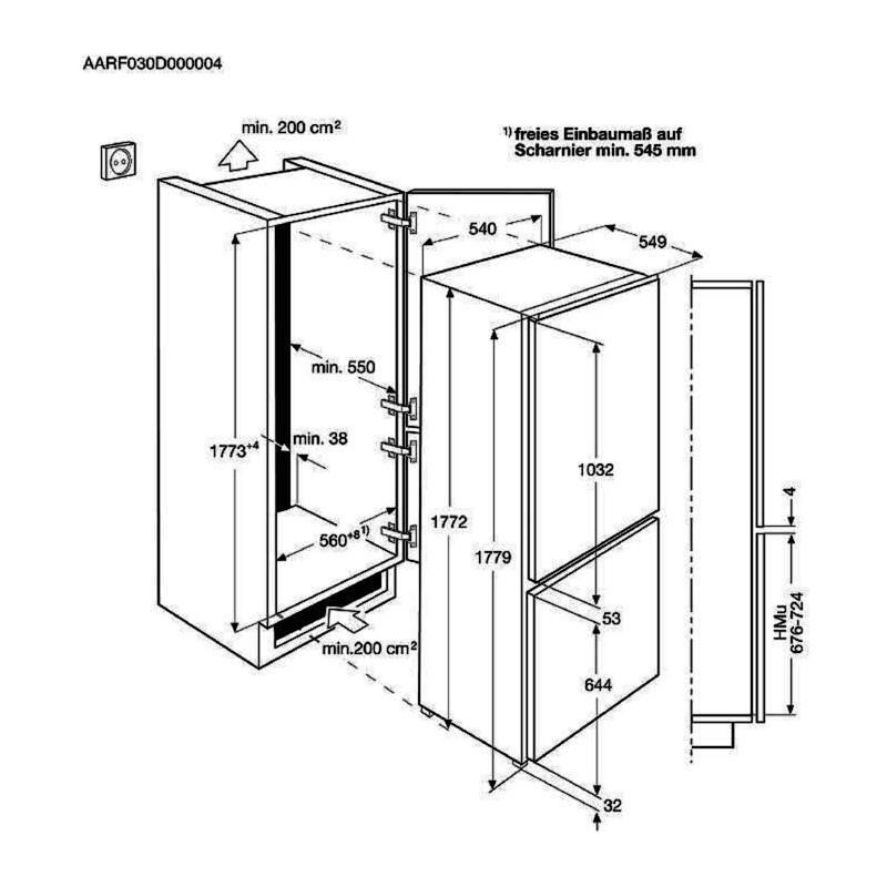 AEG H1772xW548xD549 70/30 Fridge Freezer (Frost Free) additional image 1