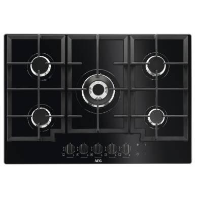 AEG H45xW740xD510 5 Burner Gas on Glass Hob - Black