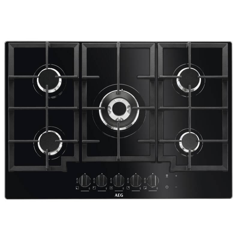 AEG H45xW740xD510 5 Burner Gas on Glass Hob - Black primary image