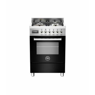 Bertazzoni Exclusive Professional 60cm Dual Fuel 4 Burner Range Cooker - Gloss Black (Nero)