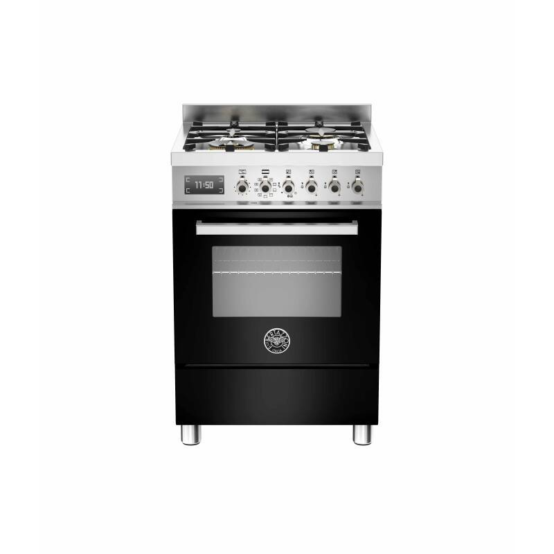 Bertazzoni Exclusive Professional 60cm Dual Fuel 4 Burner Range Cooker - Gloss Black (Nero) primary image