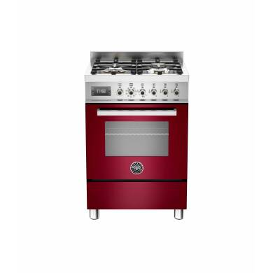 Bertazzoni Exclusive Professional 60cm Dual Fuel 4 Burner Range Cooker - Gloss Burgundy (Vino)