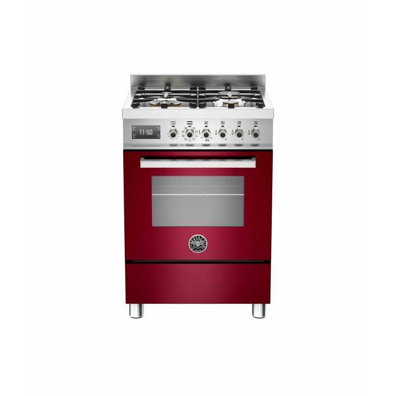 Bertazzoni Exclusive Professional 60cm Dual Fuel 4 Burner Range Cooker - Gloss Burgundy (Vino) primary image