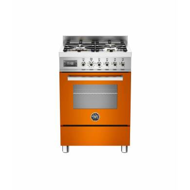 Bertazzoni Exclusive Professional 60cm Dual Fuel 4 Burner Range Cooker - Gloss Orange (Arancio)