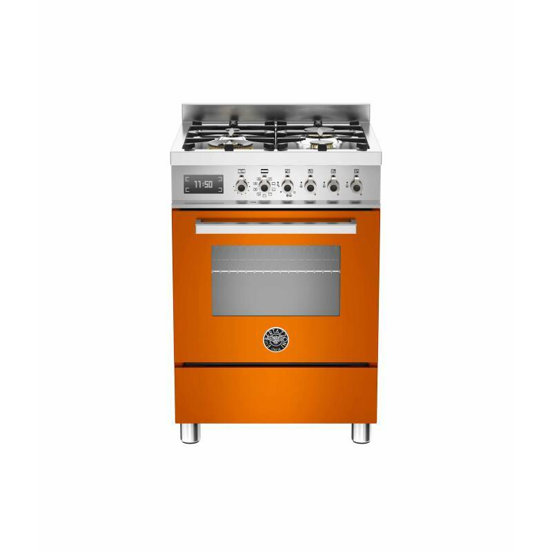 Bertazzoni Exclusive Professional 60cm Dual Fuel 4 Burner Range Cooker - Gloss Orange (Arancio) primary image