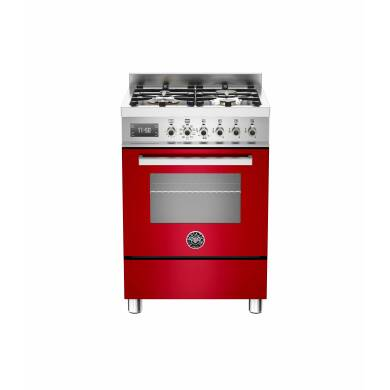 Bertazzoni Exclusive Professional 60cm Dual Fuel 4 Burner Range Cooker - Gloss Red (Rosso)