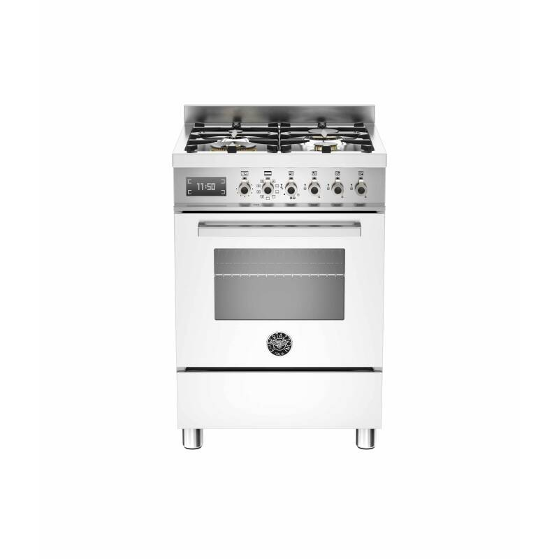 Bertazzoni Exclusive Professional 60cm Dual Fuel 4 Burner Range Cooker - Gloss White (Bianco) primary image