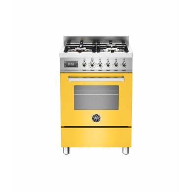Bertazzoni Exclusive Professional 60cm Dual Fuel 4 Burner Range Cooker - Gloss Yellow (Giallo)
