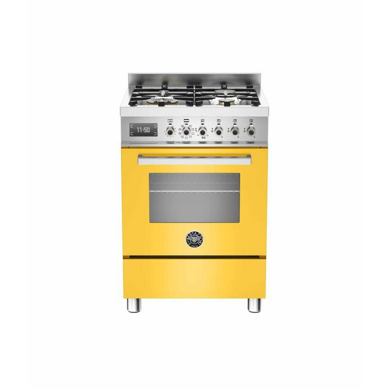 Bertazzoni Exclusive Professional 60cm Dual Fuel 4 Burner Range Cooker - Gloss Yellow (Giallo) primary image
