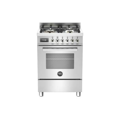 Bertazzoni Exclusive Professional 60cm Dual Fuel 4 Burner Range Cooker - Stainless Steel