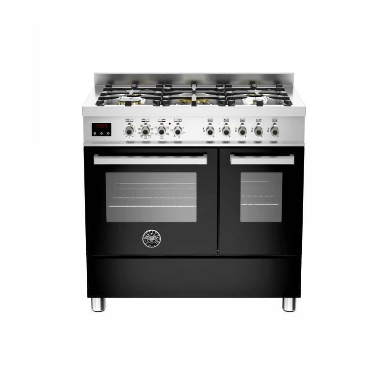 Bertazzoni Exclusive Professional 90cm Dual Fuel 5 Burner 2 Oven Range Cooker - Black primary image