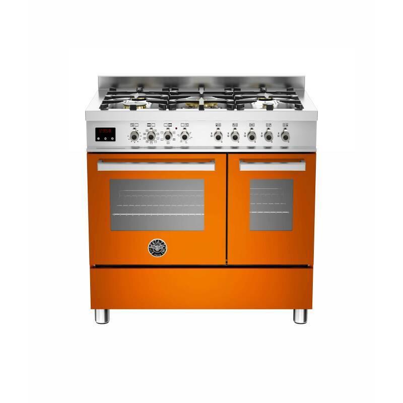 Bertazzoni Exclusive Professional 90cm Dual Fuel 5 Burner 2 Oven Range Cooker - Orange primary image