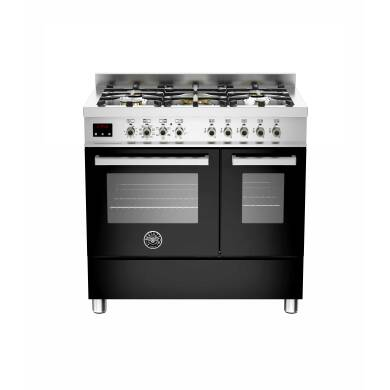 Bertazzoni Exclusive Professional 90cm Dual Fuel 5 Burner Range Cooker - Gloss Black (Nero)