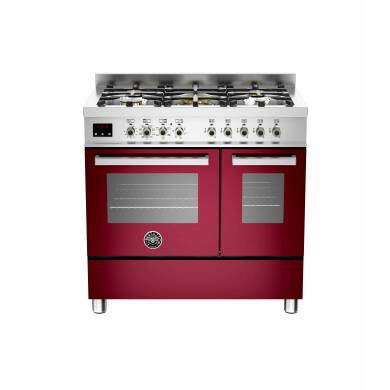 Bertazzoni Exclusive Professional 90cm Dual Fuel 5 Burner Range Cooker - Gloss Burgundy (Vino)