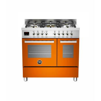 Bertazzoni Exclusive Professional 90cm Dual Fuel 5 Burner Range Cooker - Gloss Orange (Arancio)