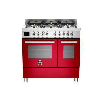 Bertazzoni Exclusive Professional 90cm Dual Fuel 5 Burner Range Cooker - Gloss Red (Rosso)