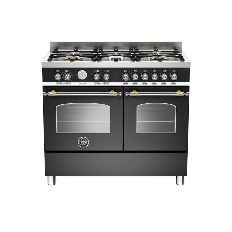 Bertazzoni Heritage 100cm Dual Fuel 6 Burner Range Cooker (2 Ovens) - Matt Black (Nero) primary image