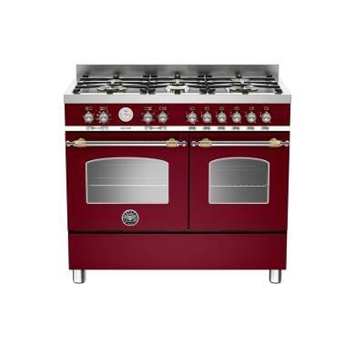 Bertazzoni Heritage 100cm Dual Fuel 6 Burner Range Cooker (2 Ovens) - Matt Burgundy (Vino)