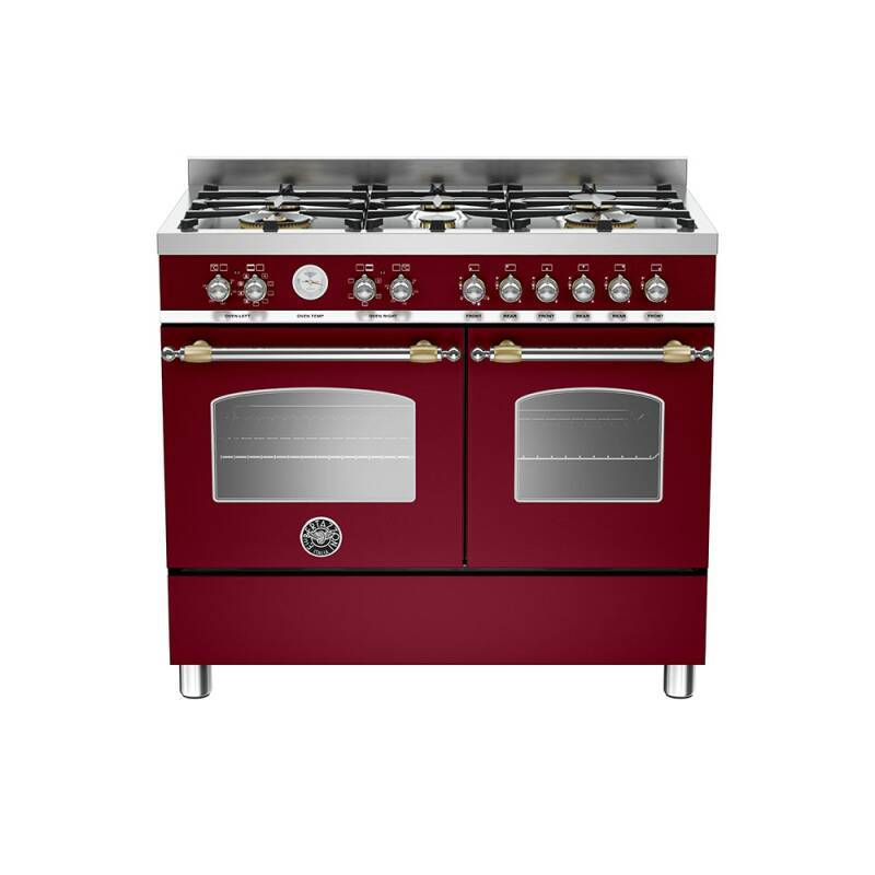 Bertazzoni Heritage 100cm Dual Fuel 6 Burner Range Cooker (2 Ovens) - Matt Burgundy (Vino) primary image