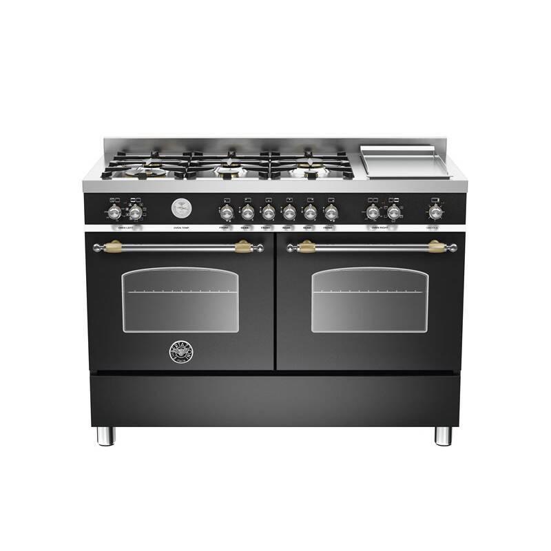 Bertazzoni Heritage 120cm Dual Fuel 6 Burner Range Cooker (2 Ovens) - Matt Black (Nero) primary image