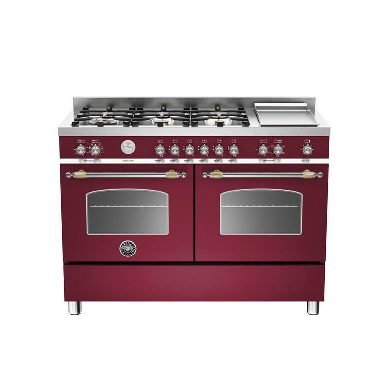 Bertazzoni Heritage 120cm Dual Fuel 6 Burner Range Cooker (2 Ovens) - Matt Burgundy (Vino) additional image 1