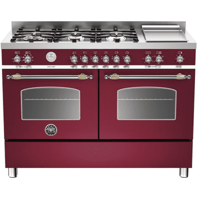 Bertazzoni Heritage 120cm Dual Fuel 6 Burner Range Cooker (2 Ovens) - Matt Burgundy (Vino)