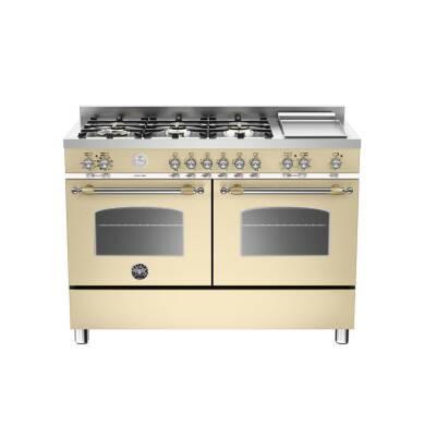 Bertazzoni Heritage 120cm Dual Fuel 6 Burner Range Cooker (2 Ovens) - Matt Cream (Crema)