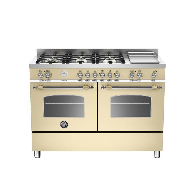 Bertazzoni Heritage 120cm Dual Fuel 6 Burner Range Cooker (2 Ovens) - Matt Cream (Crema) additional image 1