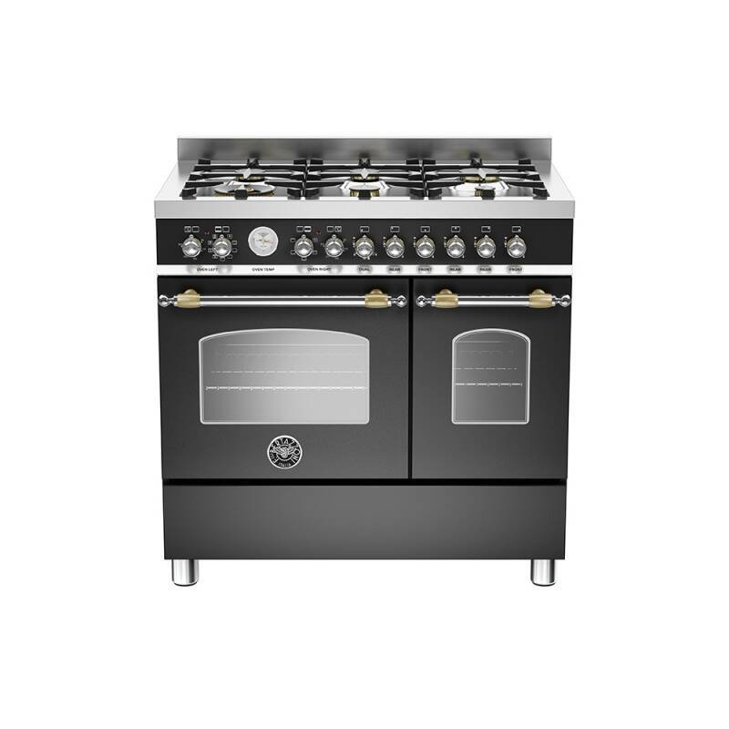 Bertazzoni Heritage 90cm Dual Fuel 6 Burner Range Cooker (2 Ovens) - Matt Black (Nero) additional image 1